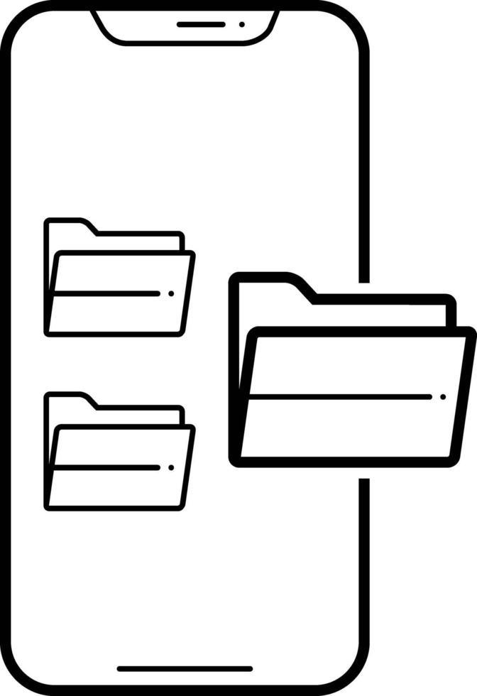 lijnpictogram voor mappen vector