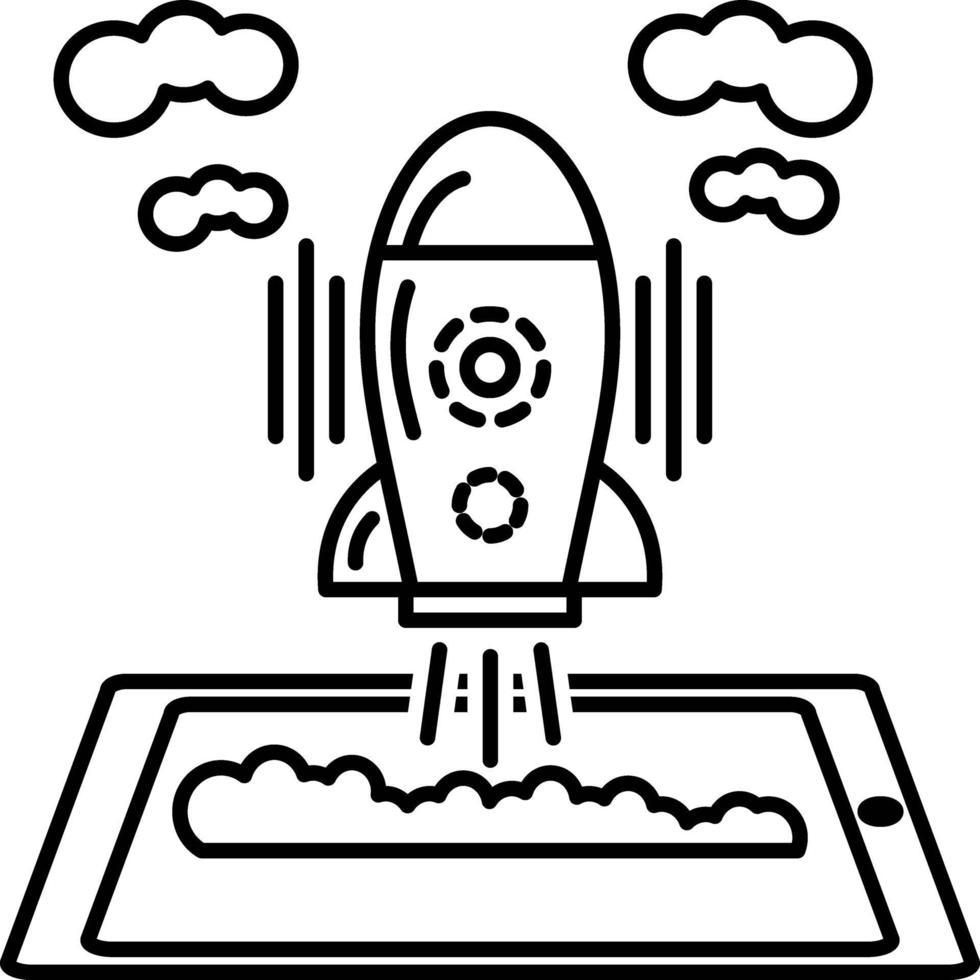 lijnpictogram voor ontwikkeling gestart vector