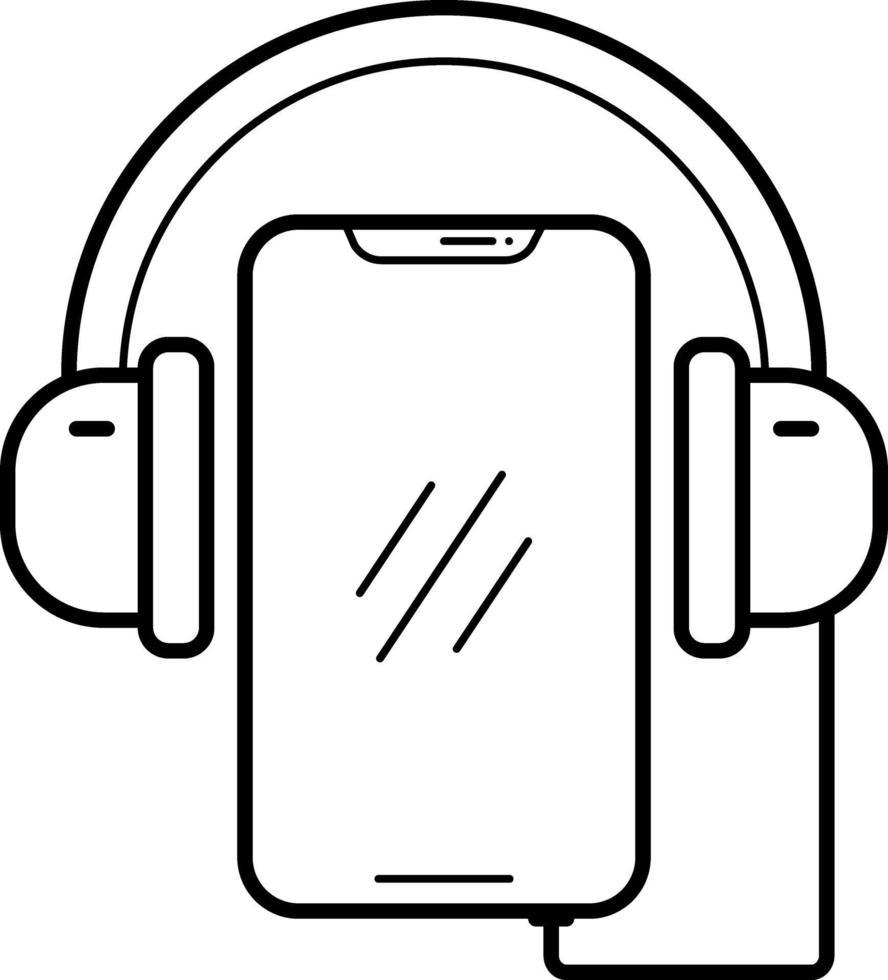lijnpictogram voor muziek-app vector