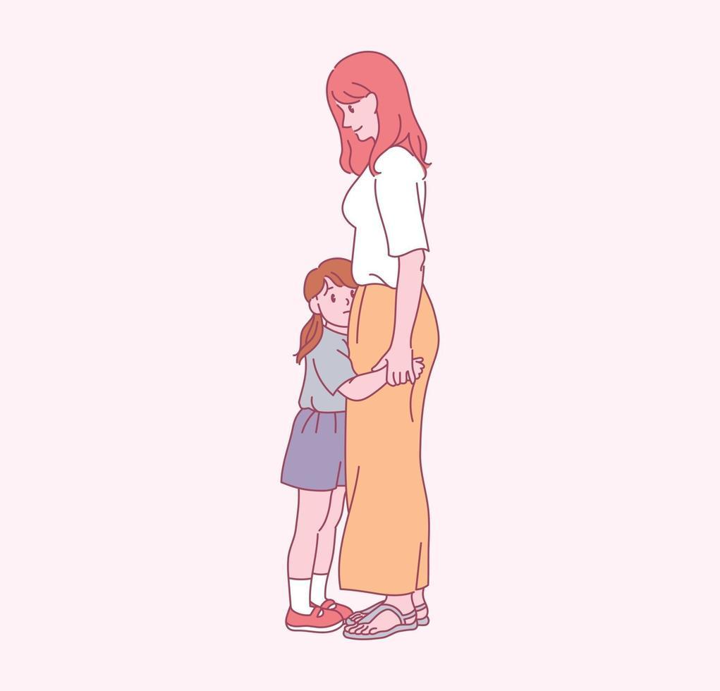 haar moeder knuffelt haar dochtertje. hand getrokken stijl vector ontwerp illustraties.