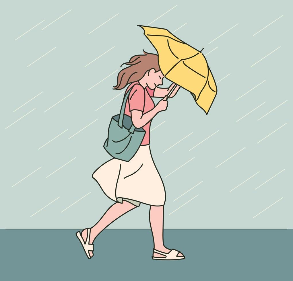 een vrouw loopt met een paraplu in een hevige regenbui. hand getrokken stijl vector ontwerp illustraties.