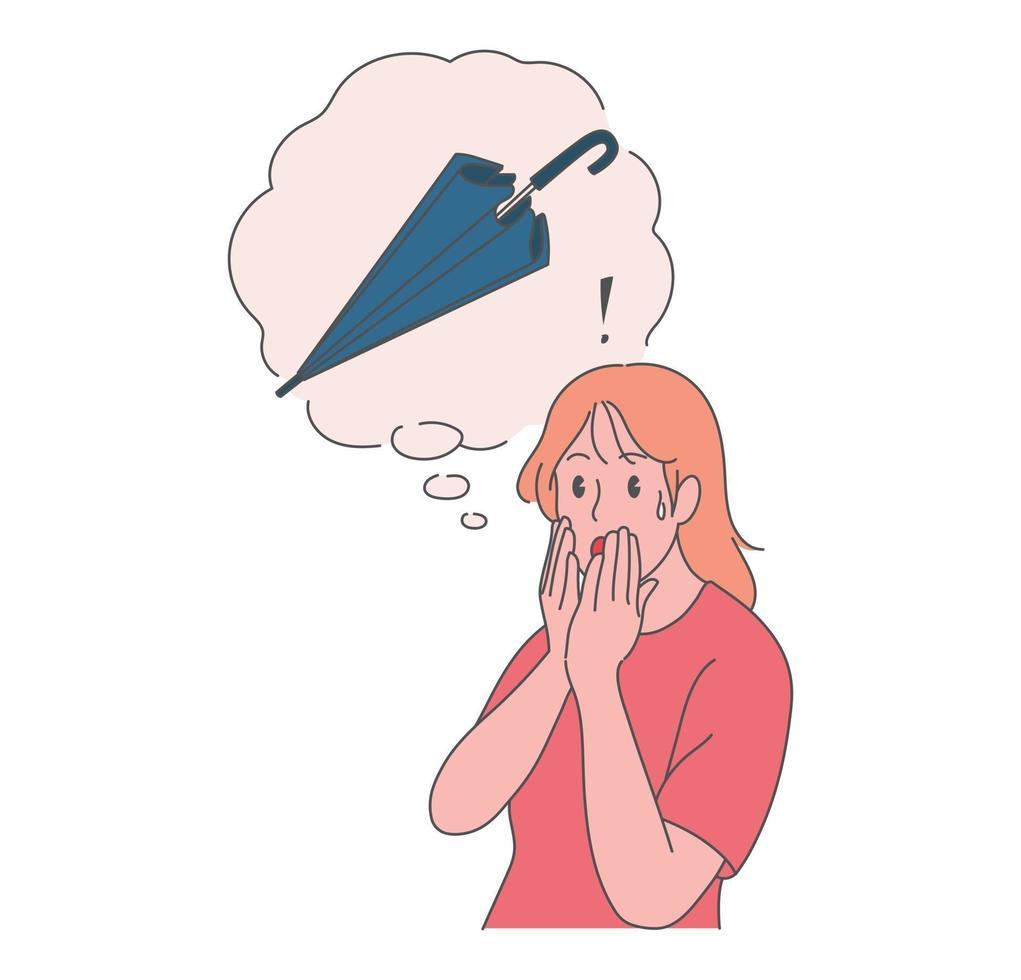 een meisje is verbaasd haar paraplu kwijt te raken. hand getrokken stijl vector ontwerp illustraties.