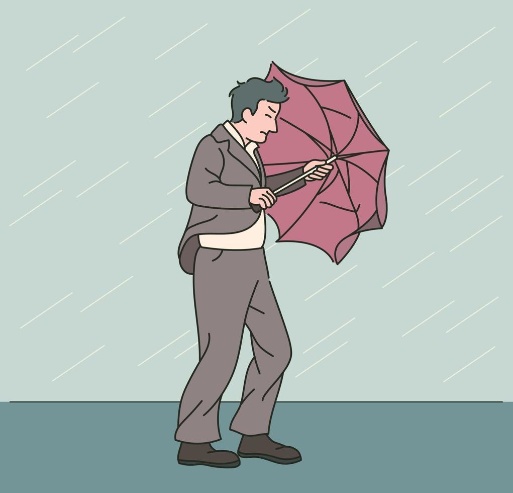 een man in een pak loopt hard in een harde regen en wind. hand getrokken stijl vector ontwerp illustraties.