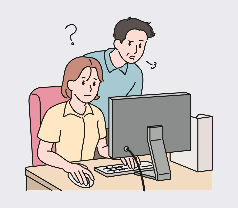 de vrouwelijke werknemer werkt op de computer en de baas kijkt naar haar monitor en zucht. hand getrokken stijl vector ontwerp illustraties.