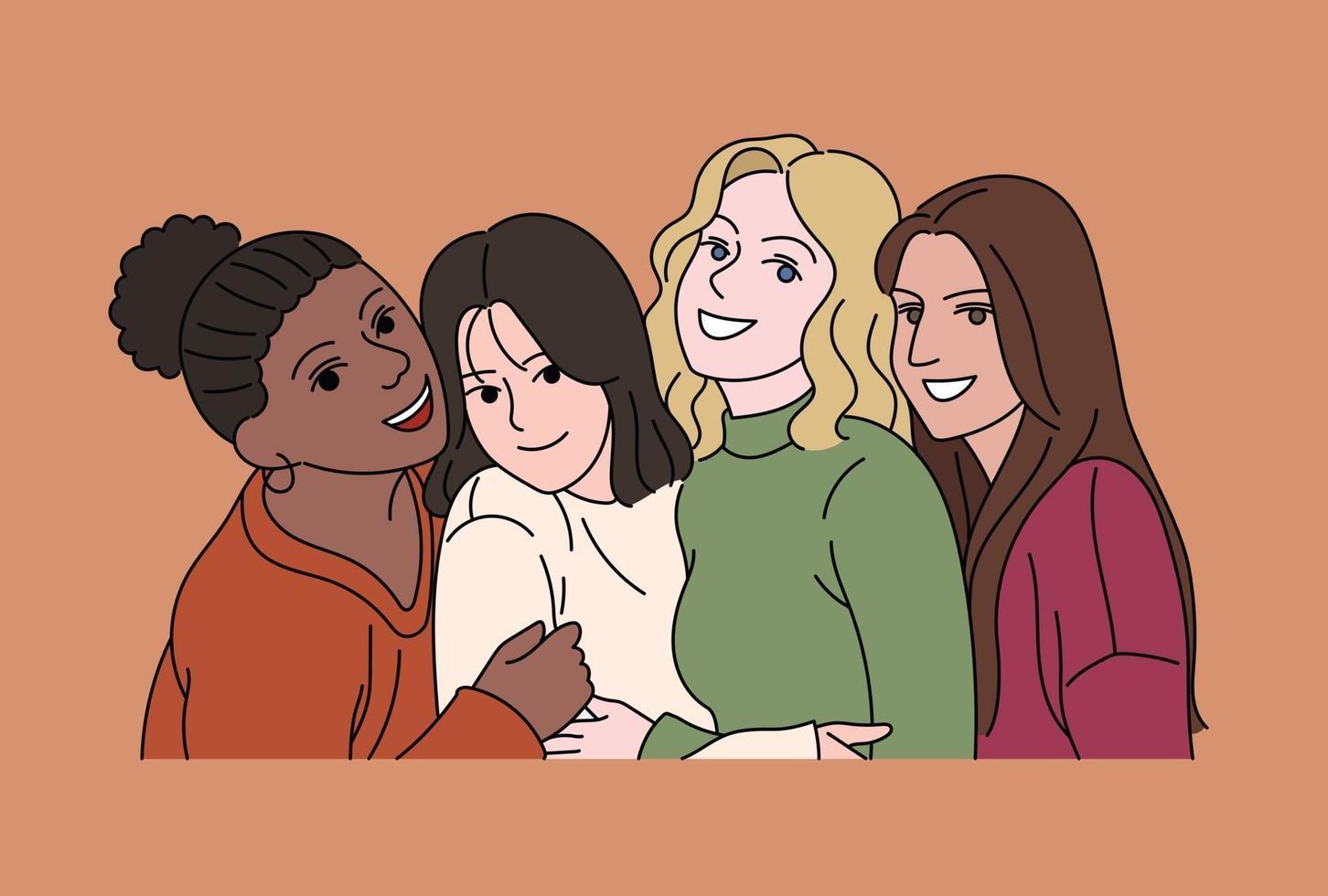 vrienden kijken recht voor zich uit met vreugdevolle uitdrukkingen. hand getrokken stijl vector ontwerp illustraties.