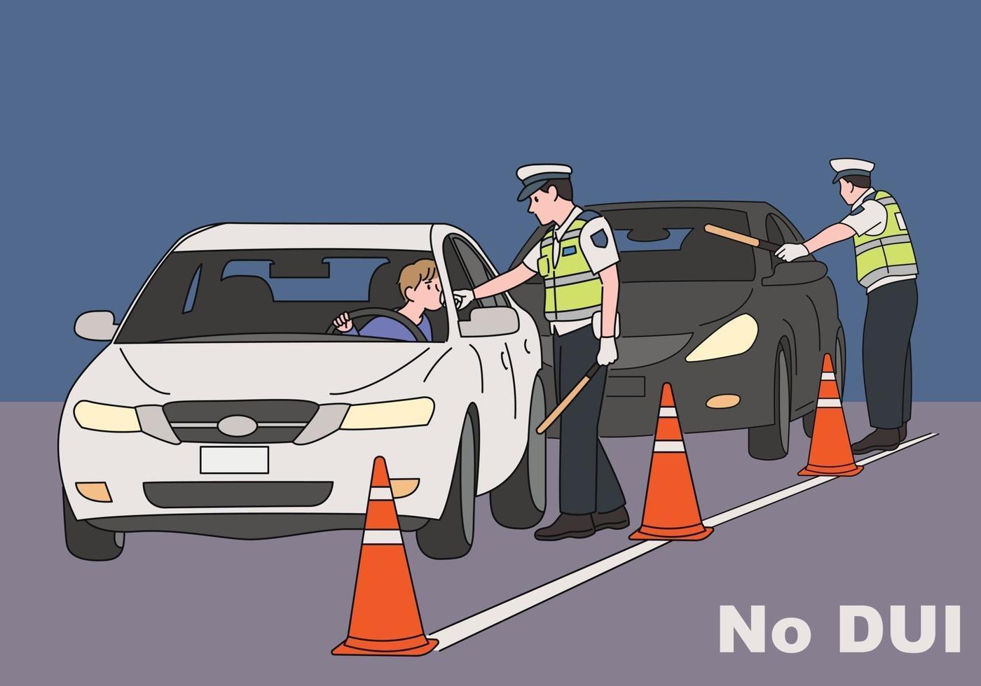 De verkeerspolitie treedt hard op tegen drinken. hand getrokken stijl vector ontwerp illustraties.