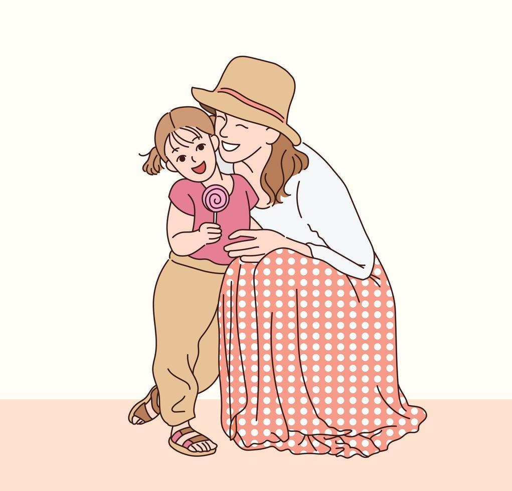 de moeder en dochter kijken liefdevol naar elkaar uit. hand getrokken stijl vector ontwerp illustraties.