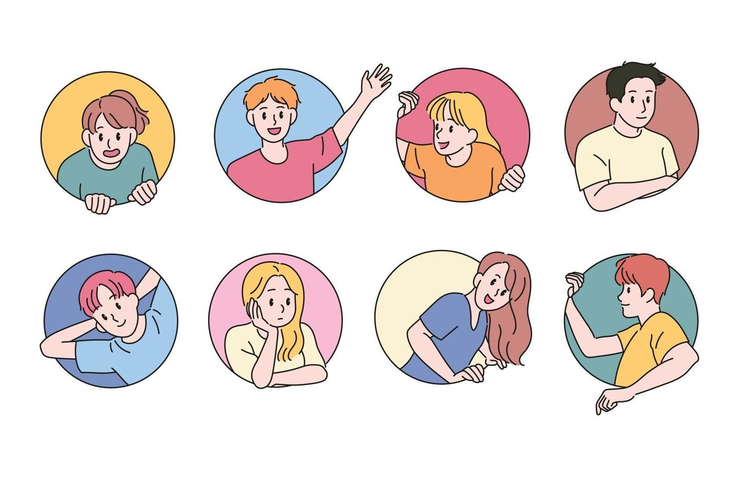 mensen steken uit in de cirkel en maken verschillende gezichtsuitdrukkingen. hand getrokken stijl vector ontwerp illustraties.