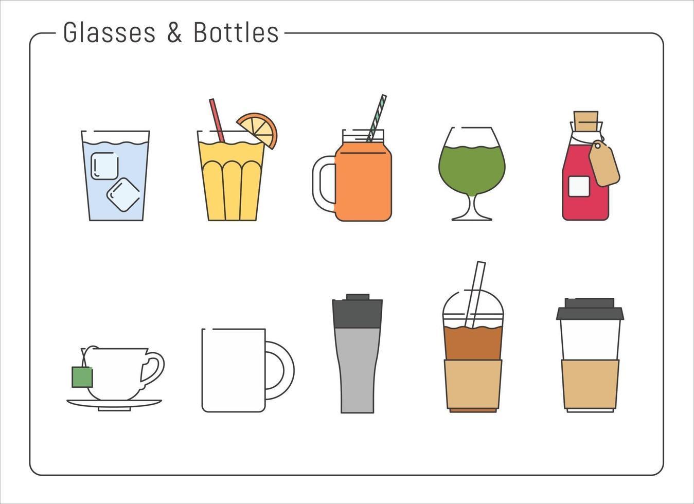 een verzameling van verschillende drinkbekers. hand getrokken stijl vector ontwerp illustraties.