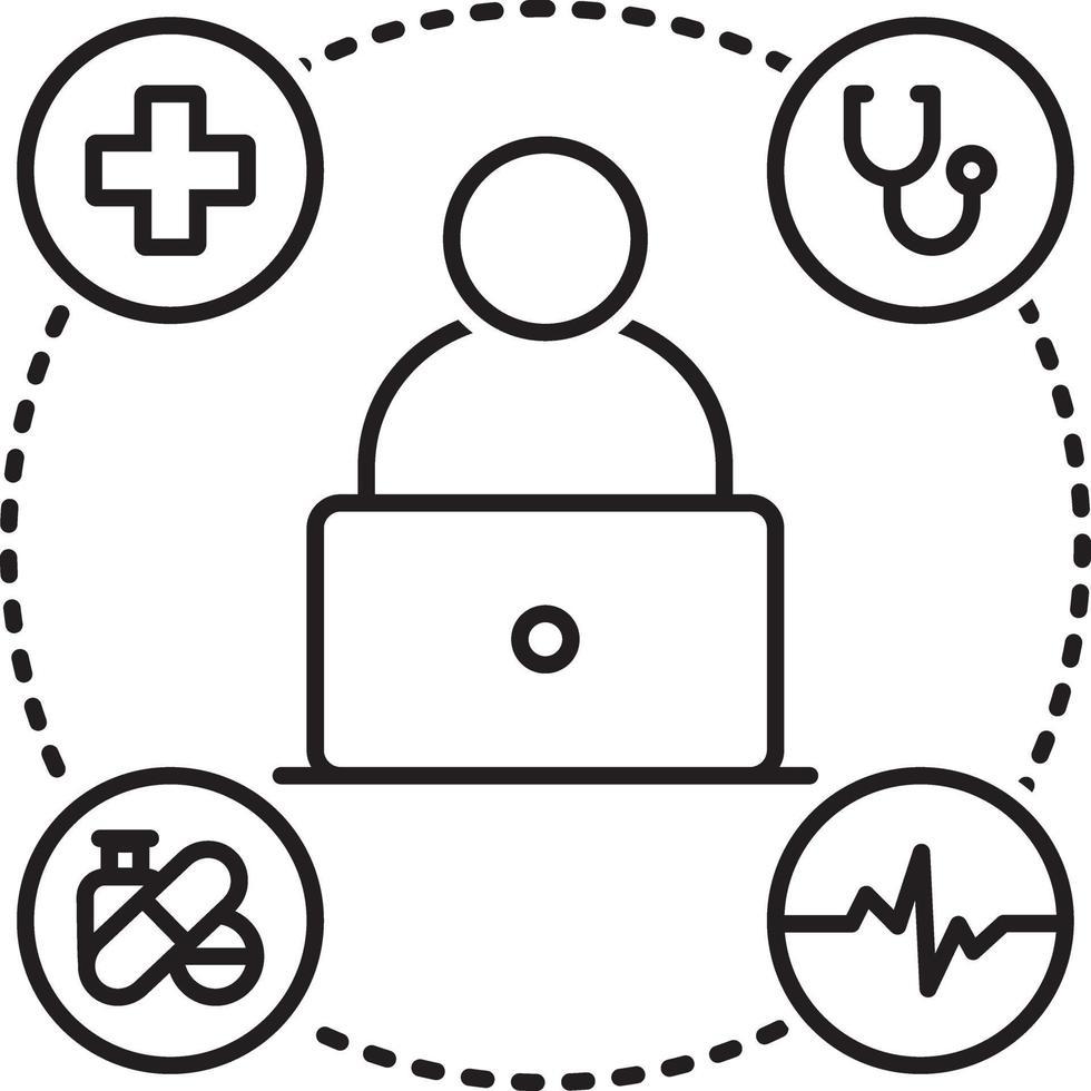 lijnpictogram voor online medische hulp vector