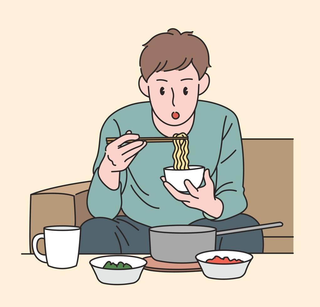 een man eet ramen. hand getrokken stijl vector ontwerp illustraties.