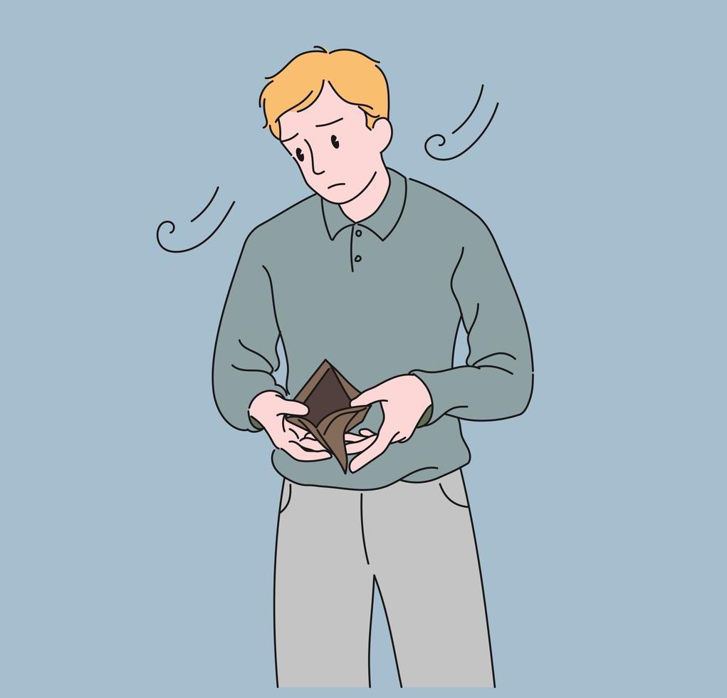 een man kijkt naar een lege portemonnee. hand getrokken stijl vector ontwerp illustraties.