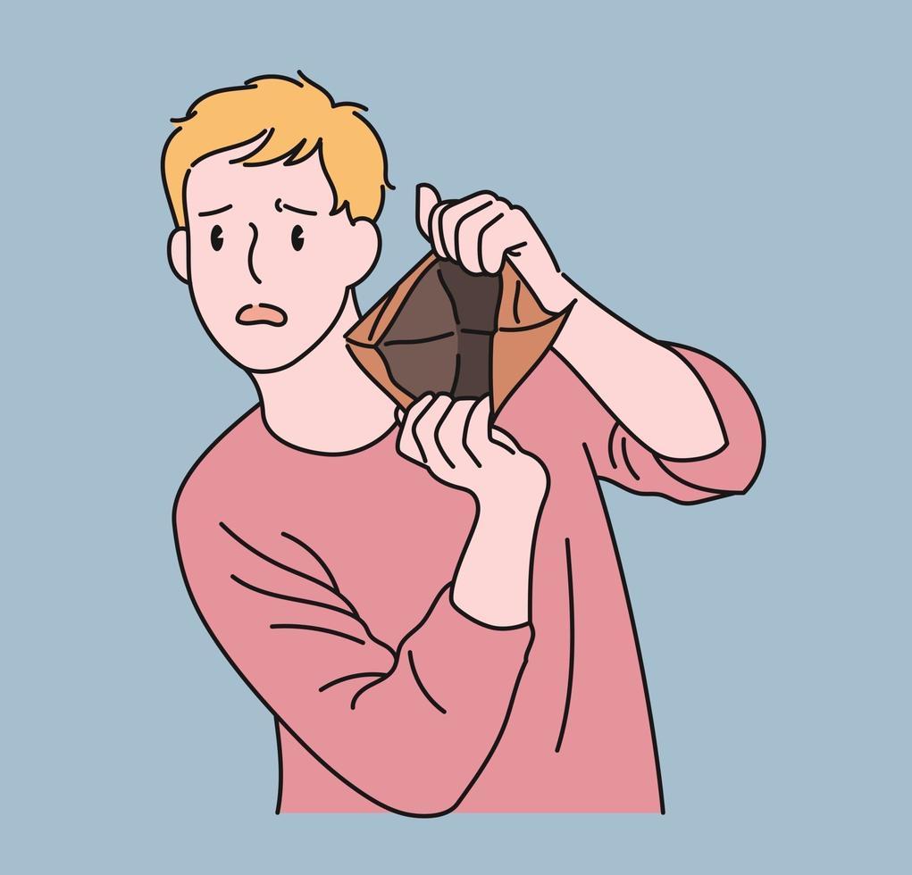 een man toont een lege portemonnee en maakt een droevige uitdrukking. hand getrokken stijl vector ontwerp illustraties.