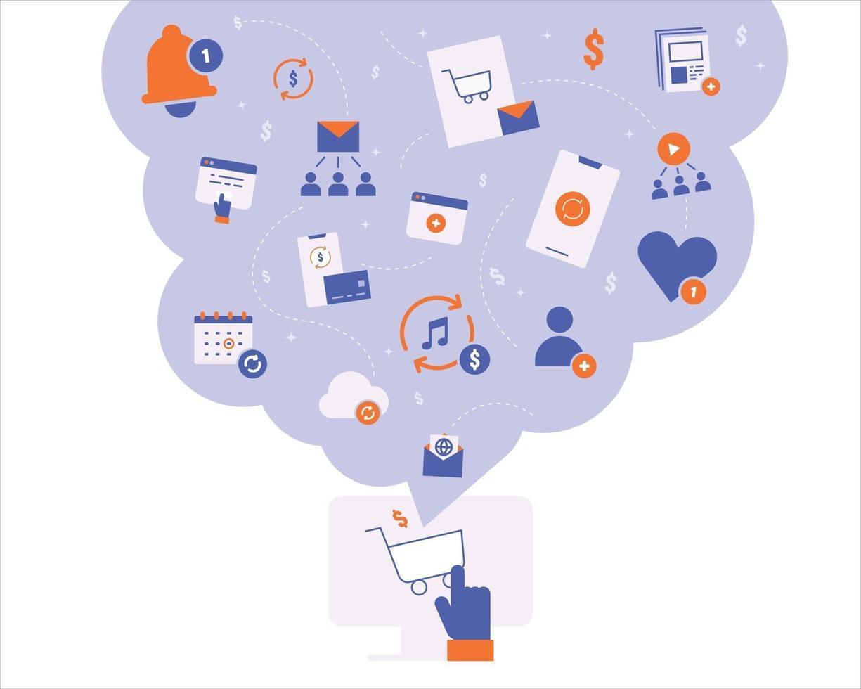 online sociaal netwerkabonnement en betalingspictogrammen. platte ontwerpstijl minimale vectorillustratie. vector