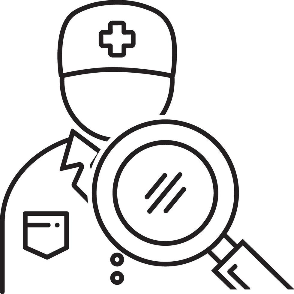 lijn pictogram voor arts zoeken vector