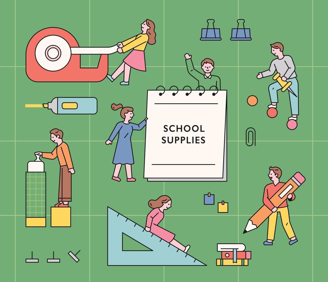 studentpersonages die enorme schoolbenodigdheden gebruiken. platte ontwerpstijl minimale vectorillustratie. vector