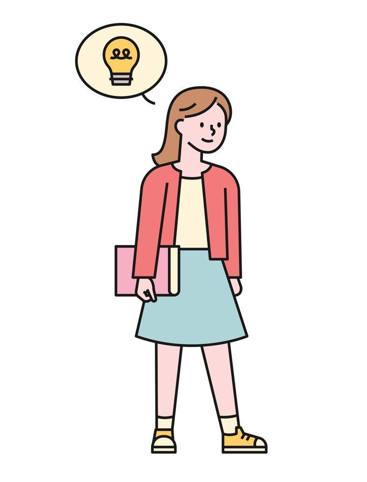 een meisje met een boek komt met een idee. platte ontwerpstijl minimale vectorillustratie. vector