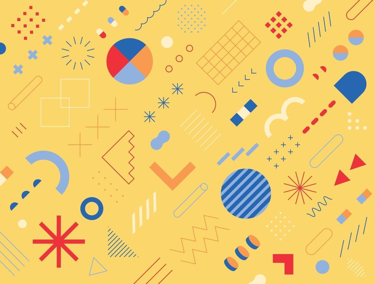 retro-stijl ontwerp bestaande uit verschillende vormen en patronen. gele achtergrond. eenvoudig patroon ontwerpsjabloon. vector