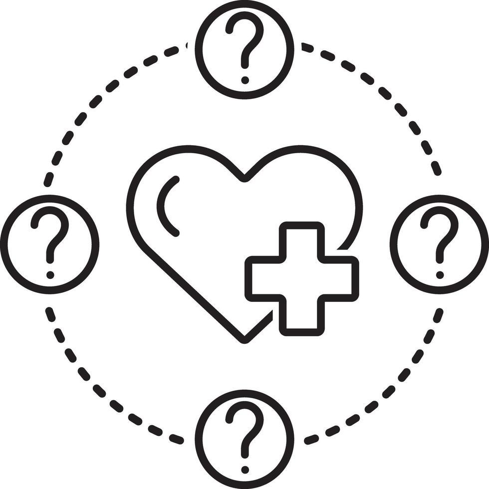 lijn pictogram voor gezondheidsvraag vector