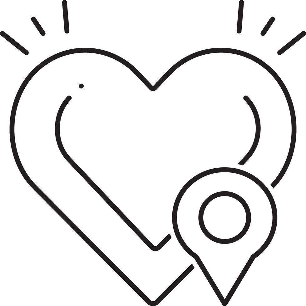 lijnpictogram voor defibrillatorlocatie vector