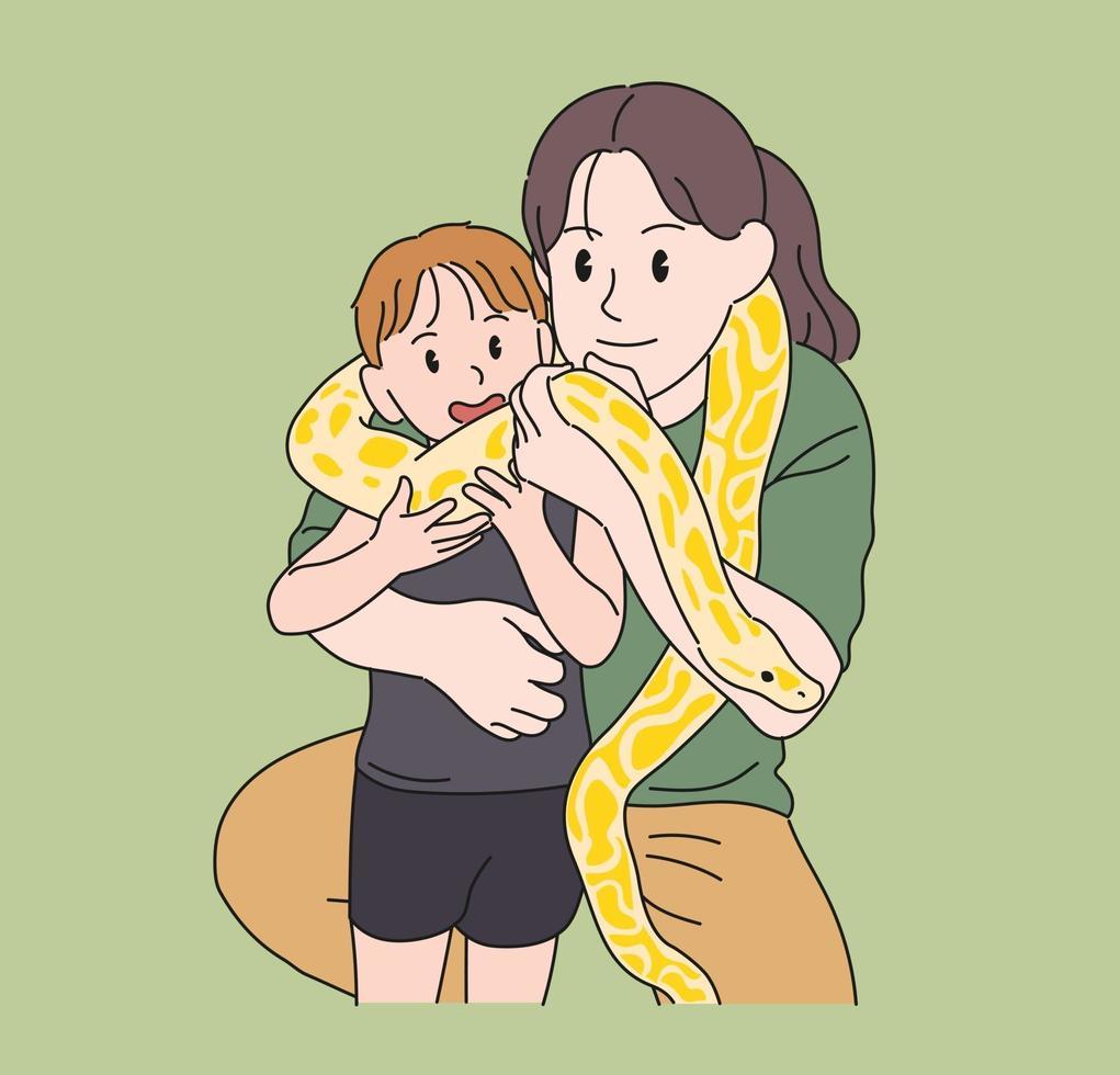 moeder en kind hebben pythons om hun nek. hand getrokken stijl vector ontwerp illustraties.