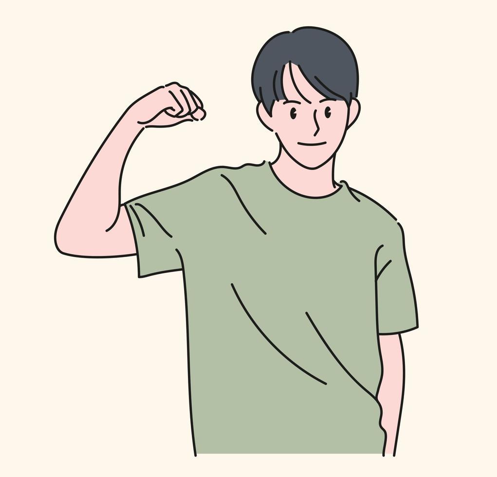 een man toont kracht door zijn arm op te heffen. hand getrokken stijl vector ontwerp illustraties.