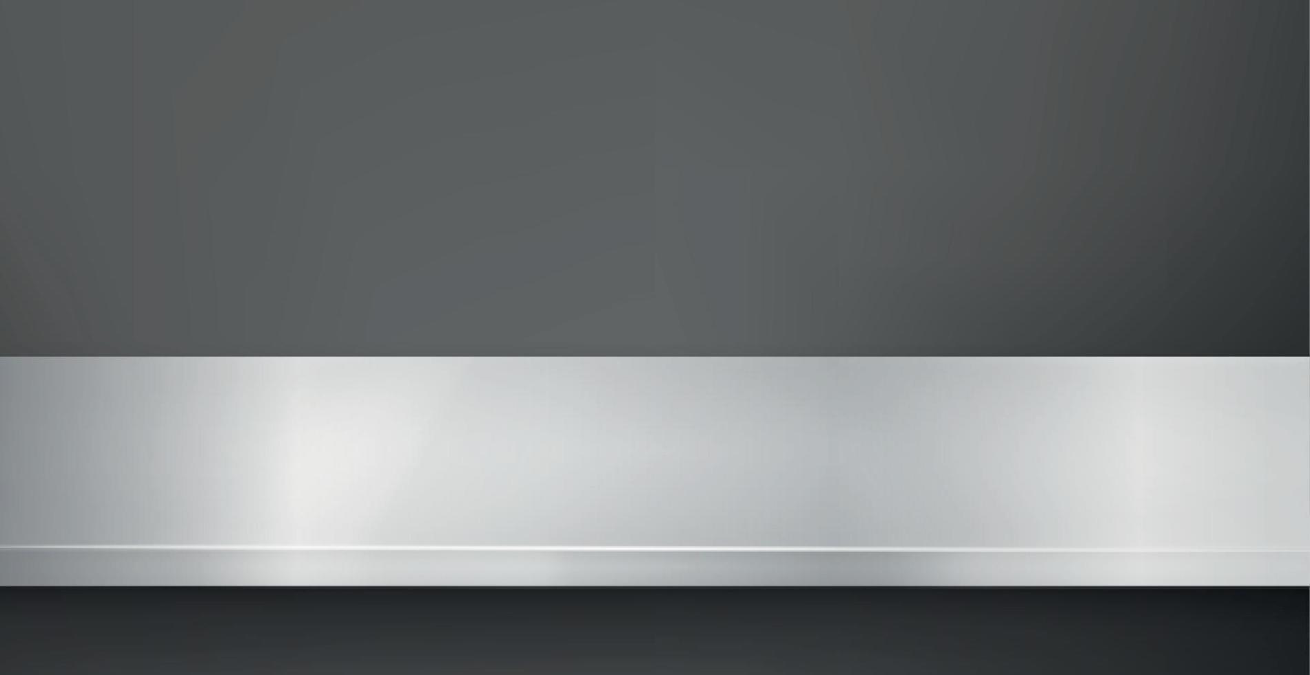 metalen keuken aanrecht, ijzer textuur, grote tafel op een zwarte achtergrond - vector