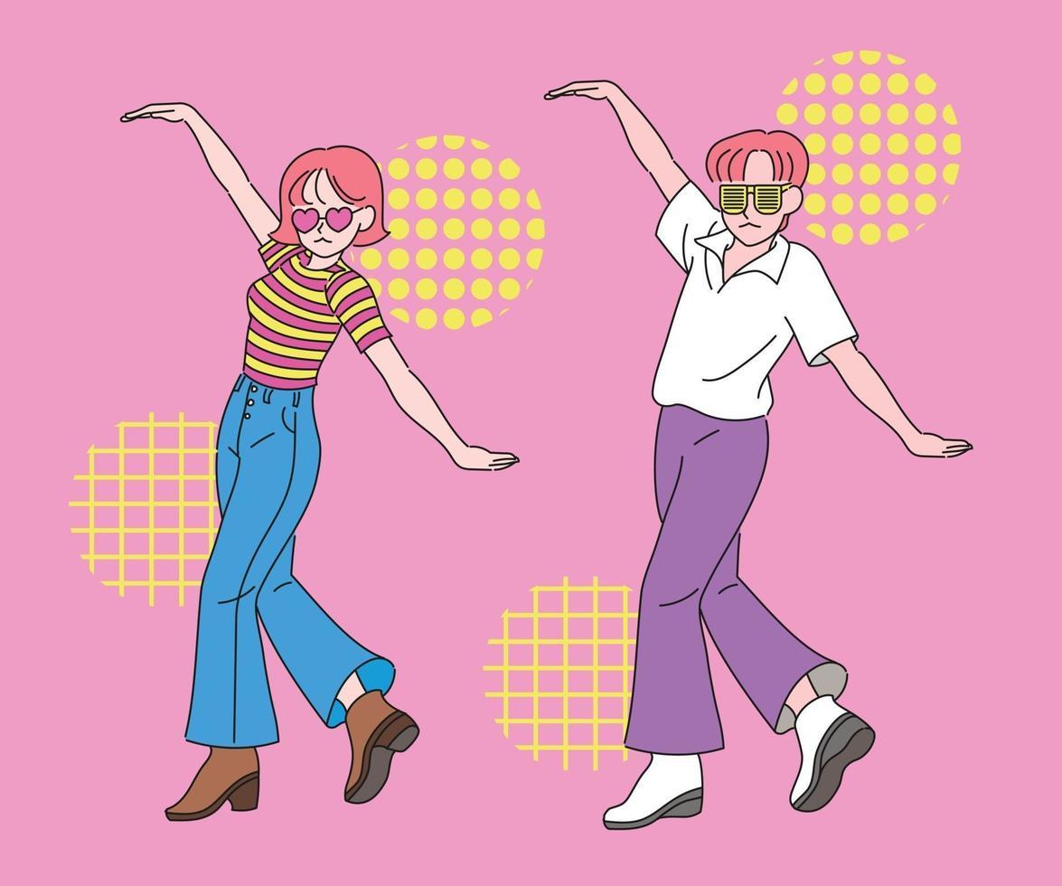 een grappig stel danst in dezelfde pose. hand getrokken stijl vector ontwerp illustraties.