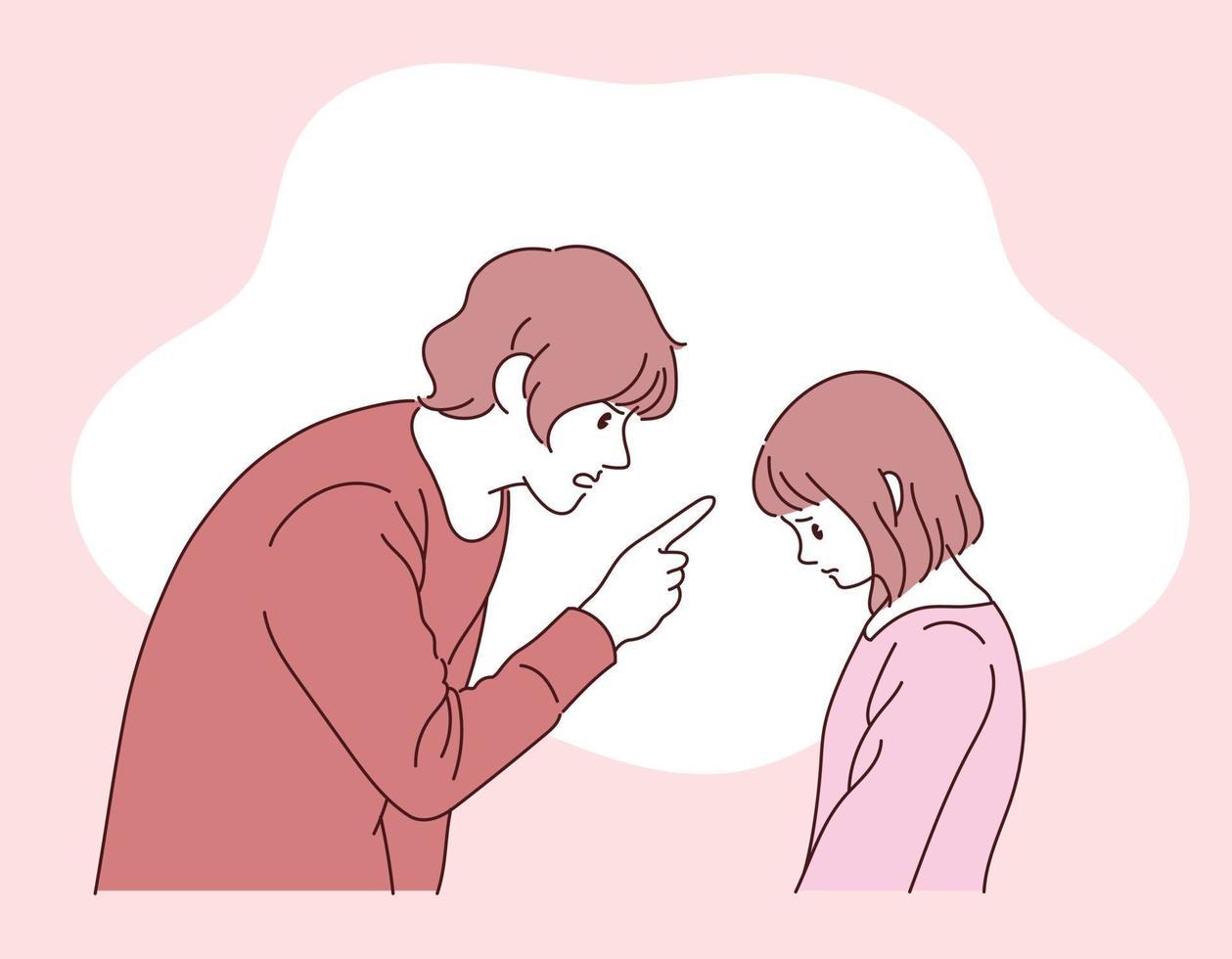 een volwassene zit achter een kind aan. hand getrokken stijl vector ontwerp illustraties.