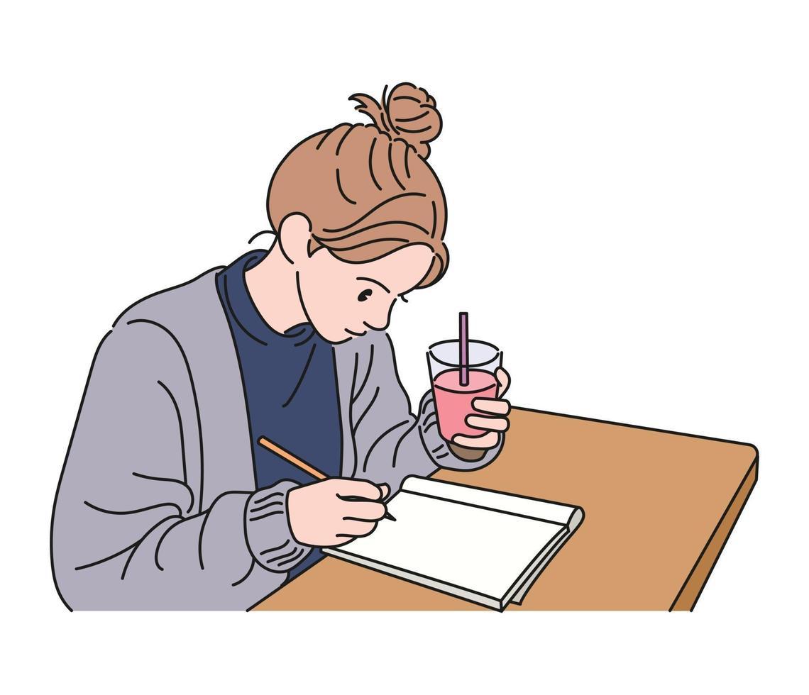 een meisje houdt een drankje in haar ene hand en maakt aantekeningen met een hand. hand getrokken stijl vector ontwerp illustraties.