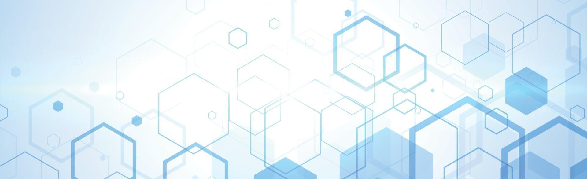 zeshoeken op blauwe en witte achtergrond - vector