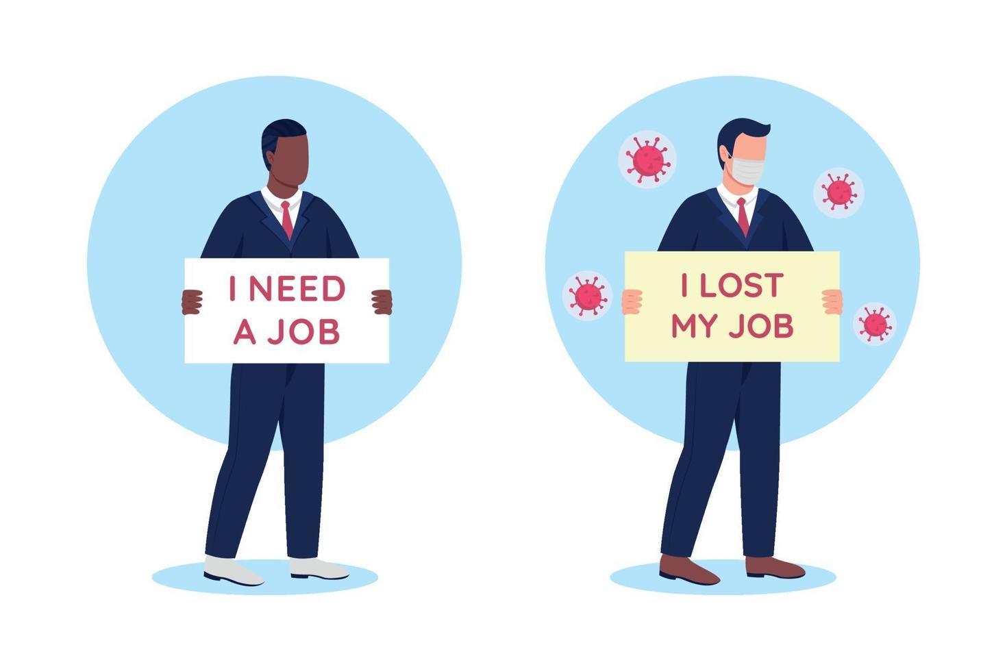 werkloze mensen met kartonnen borden platte concept vector illustratie set