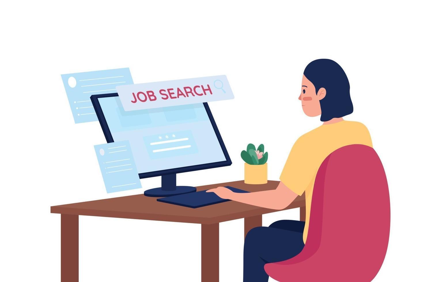 vrouw op zoek naar baan online egale kleur vector gedetailleerd karakter