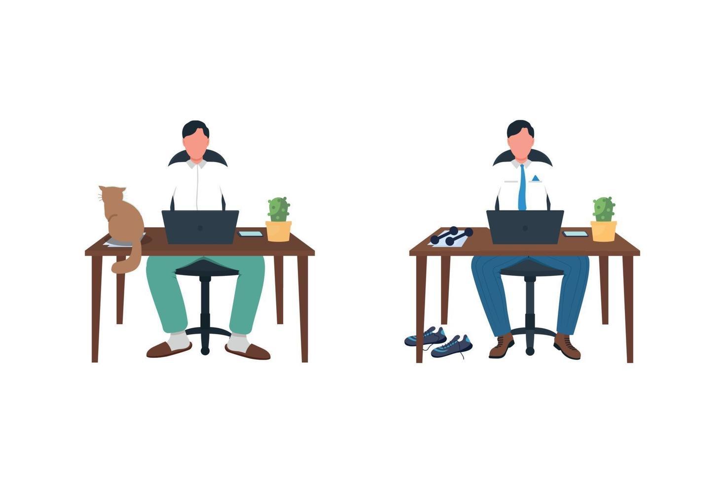 zakenman aan bureau egale kleur vector anonieme tekenset