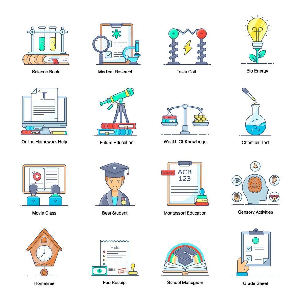 virtuele leer- en onderwijselementen vector