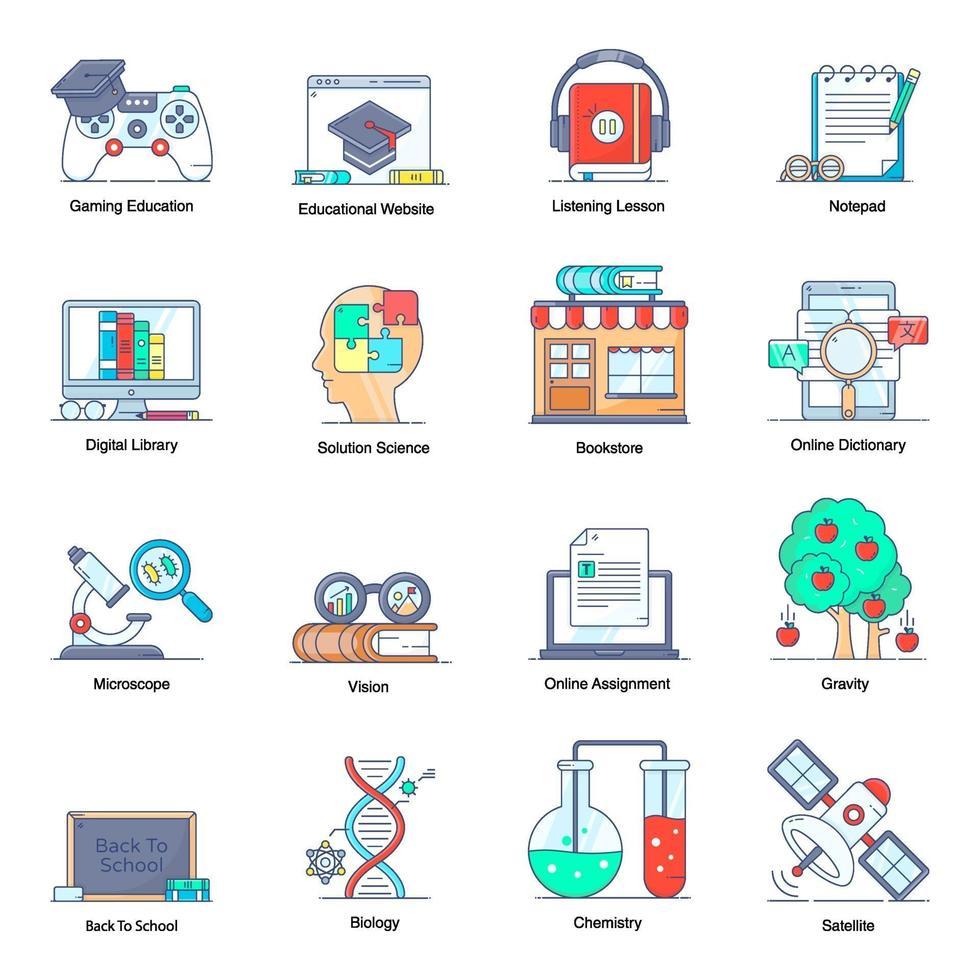 leer- en onderwijselementen vector