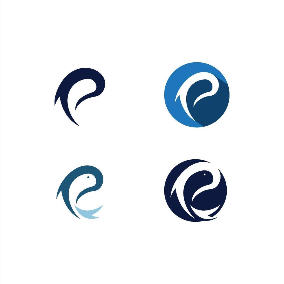 p-logo en vissymbolen vector