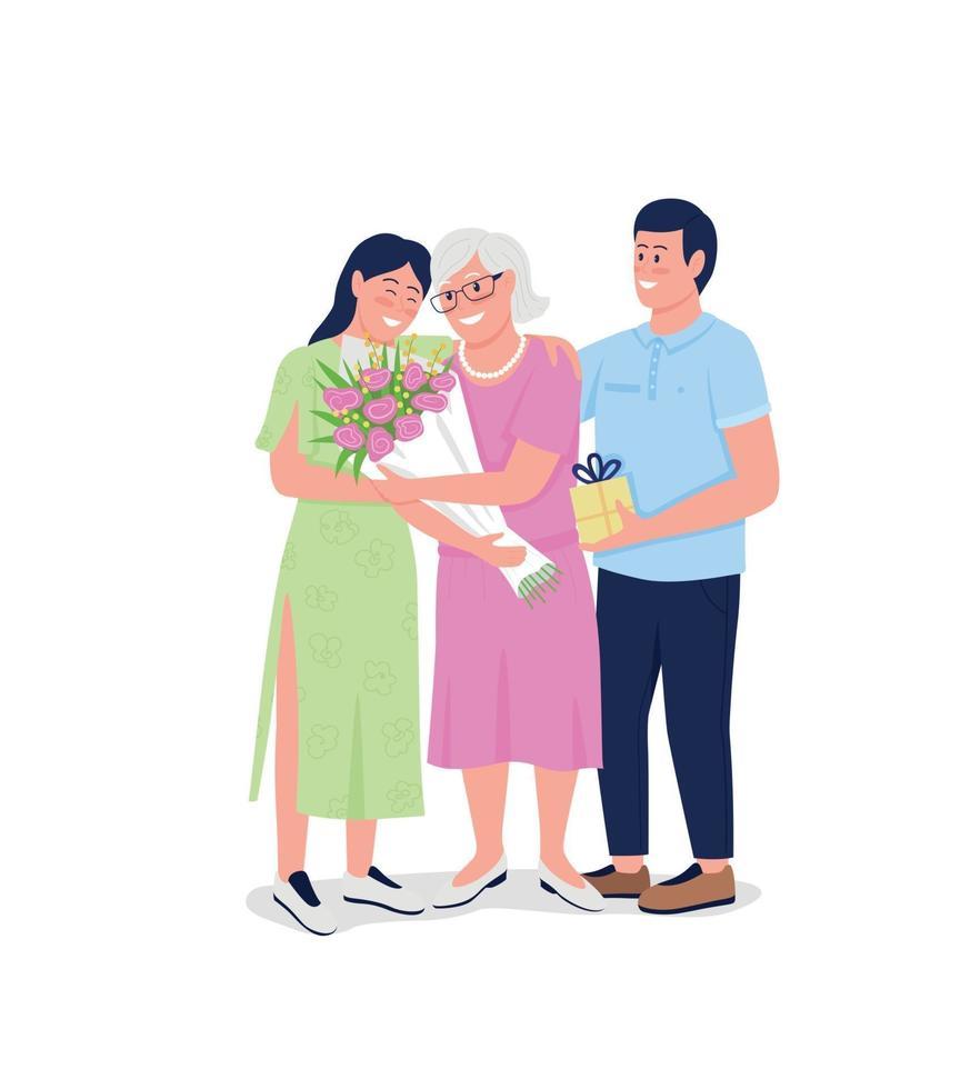 grootmoeder met volwassen kleinkinderen egale kleur vector gedetailleerde karakters