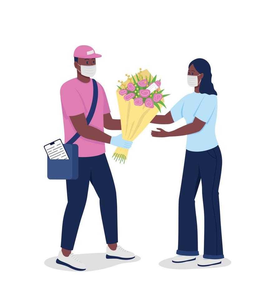 Afro-Amerikaanse koerier in gezichtsmasker geeft vrouw bloemen egale kleur vector gedetailleerde karakters