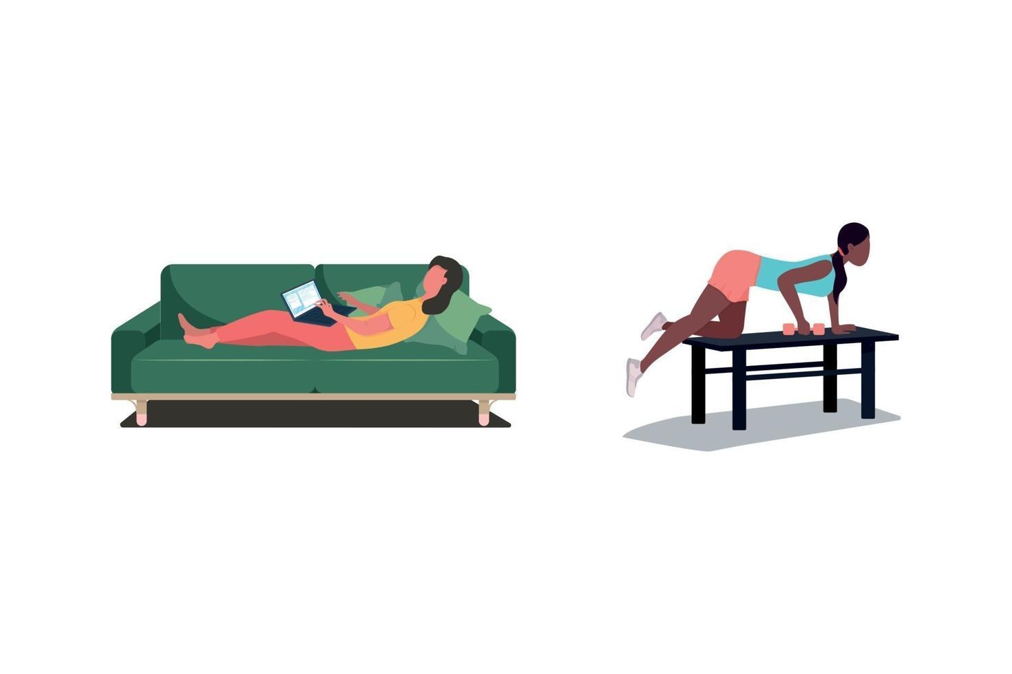 vrouwelijke werknemers egale kleur vector anonieme tekenset