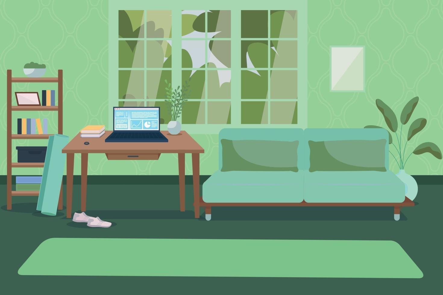 kantoor aan huis met fitnessapparatuur egale kleur vectorillustratie vector