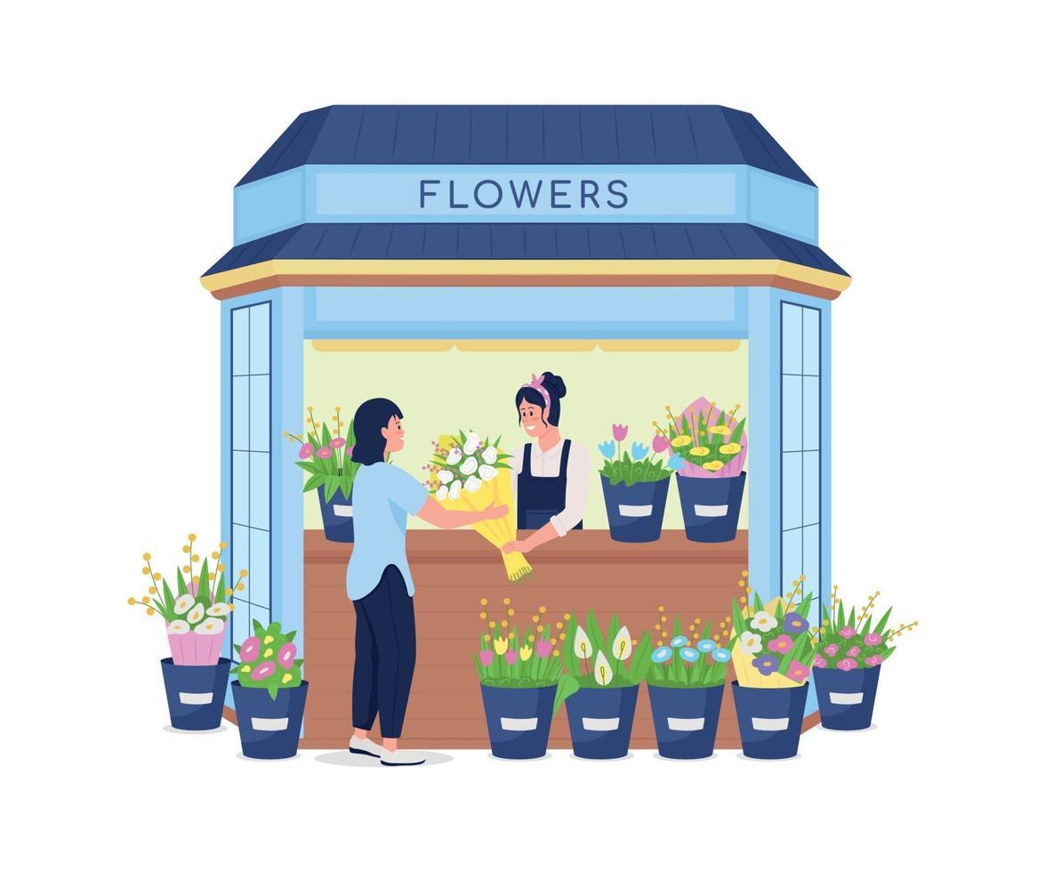 bloemist bloemen verkopen aan klant egale kleur vector gedetailleerd karakter