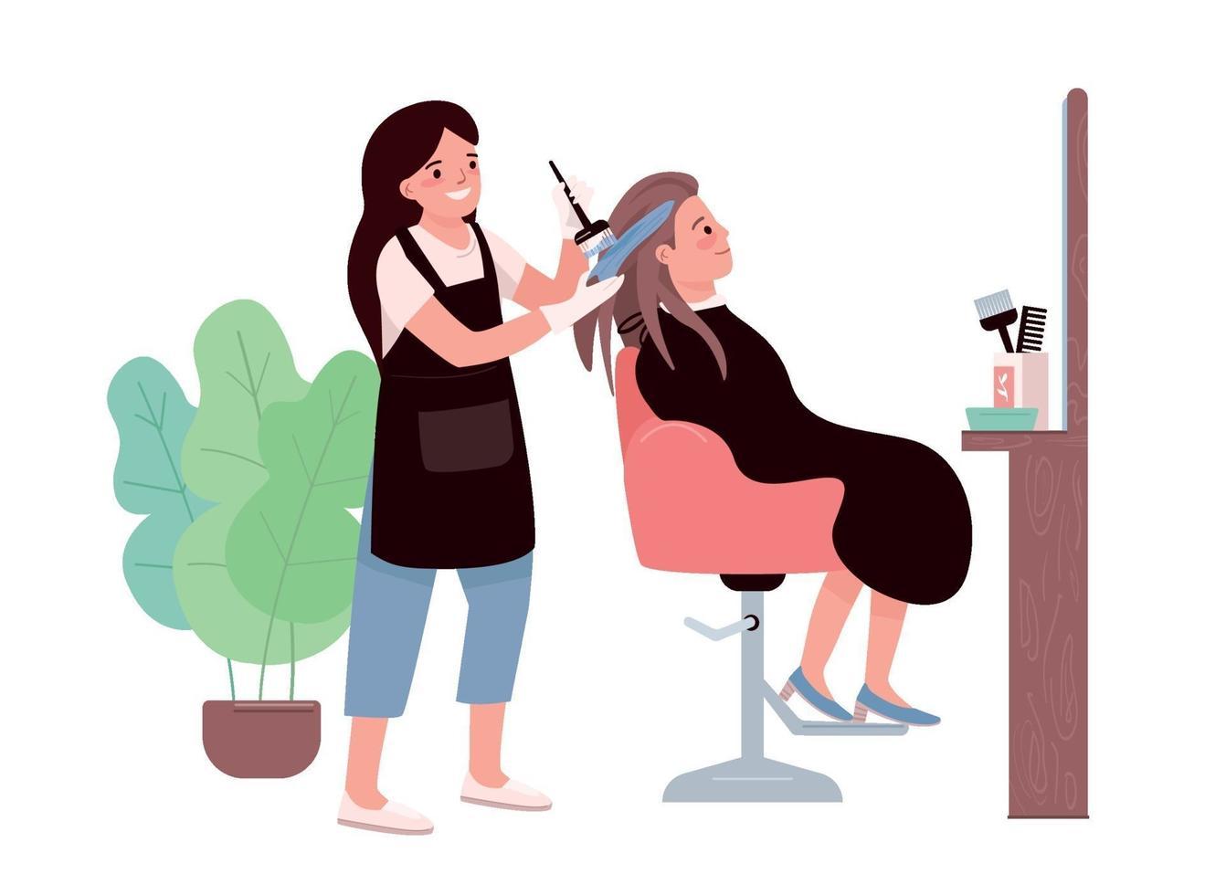 haarkleuring egale kleur vector tekens. vrouwelijke kapper. haar verven procedure. haarstylist studio. stylist klant. vrouw krijgt kapsel. schoonheidssalon geïsoleerde cartoon afbeelding