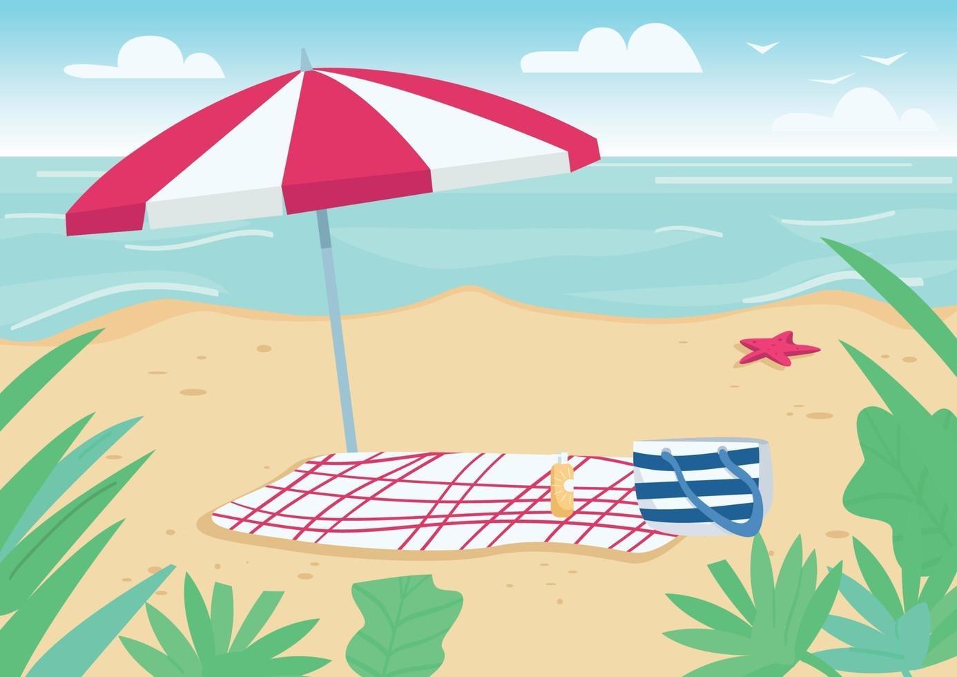 deken en parasol op zandstrand egale kleur vectorillustratie. handdoek, tas en zonnebrandflessen om te zonnebaden. zomervakantie. zeekust 2d cartoon landschap met water op de achtergrond vector