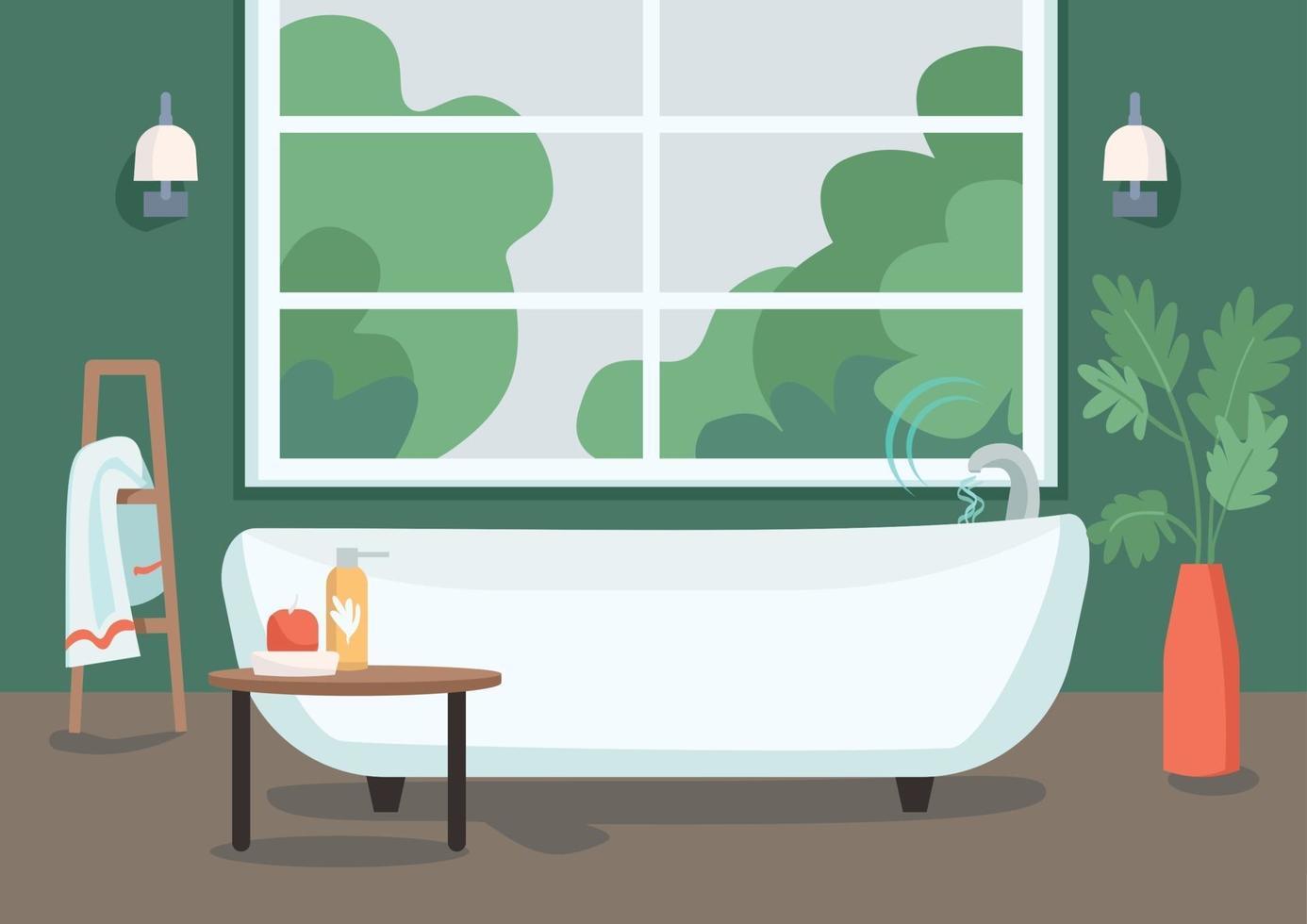 slimme bad egale kleur vectorillustratie. internet of things-technologie in het dagelijks leven. waterstroom afstandsbediening. modern appartement 2d cartoon interieur met badkamer op de achtergrond vector