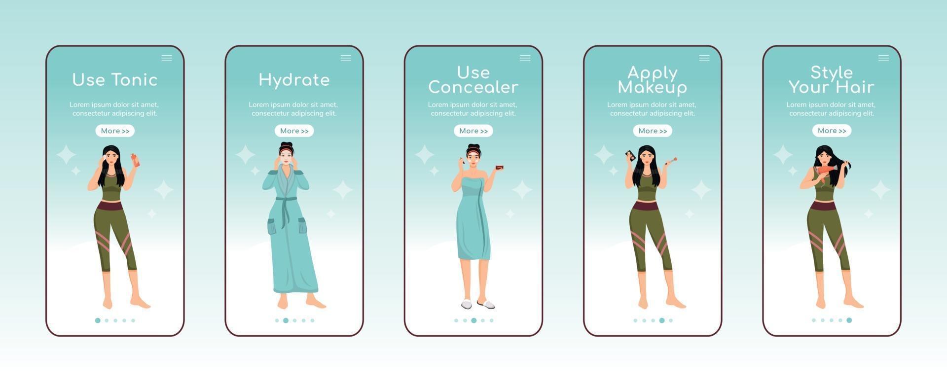 huidverzorging voedende stappen onboarding mobiele app-scherm platte vector sjabloon. toner gebruiken. walkthrough website stappen met karakters. ux, ui, gui smartphone cartoon-interface, set hoesjes