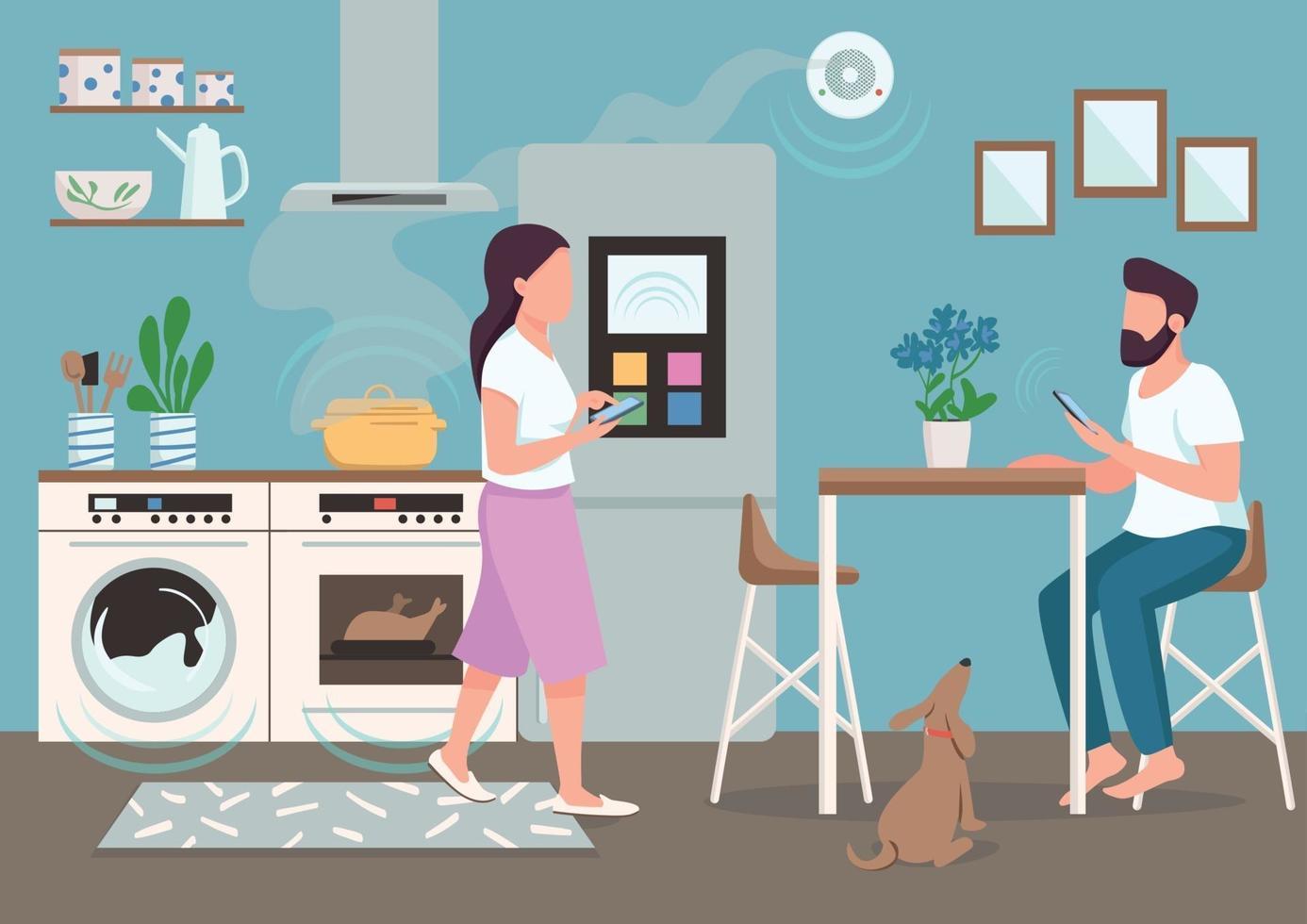 paar in slimme keuken egale kleur vectorillustratie. mensen die geautomatiseerde huishoudelijke apparaten gebruiken. jonge man en vrouw met smartphones 2d stripfiguren met eetkamer op achtergrond vector