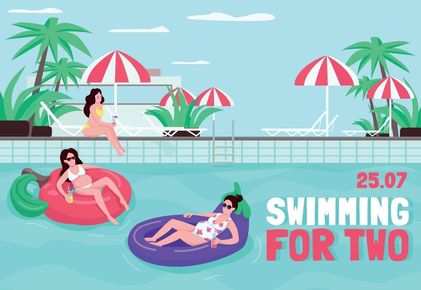 zwemmen voor twee poster platte vector sjabloon. samen uitrusten bij het zwembad. boek hotel voor familie. brochure, boekje conceptontwerp van één pagina met stripfiguren. zomerrecreatie flyer, folder