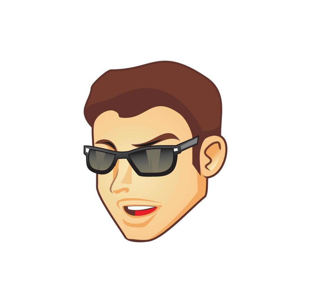 cool kerelhoofd die de illustratie van het zonnebrilontwerp dragen vector