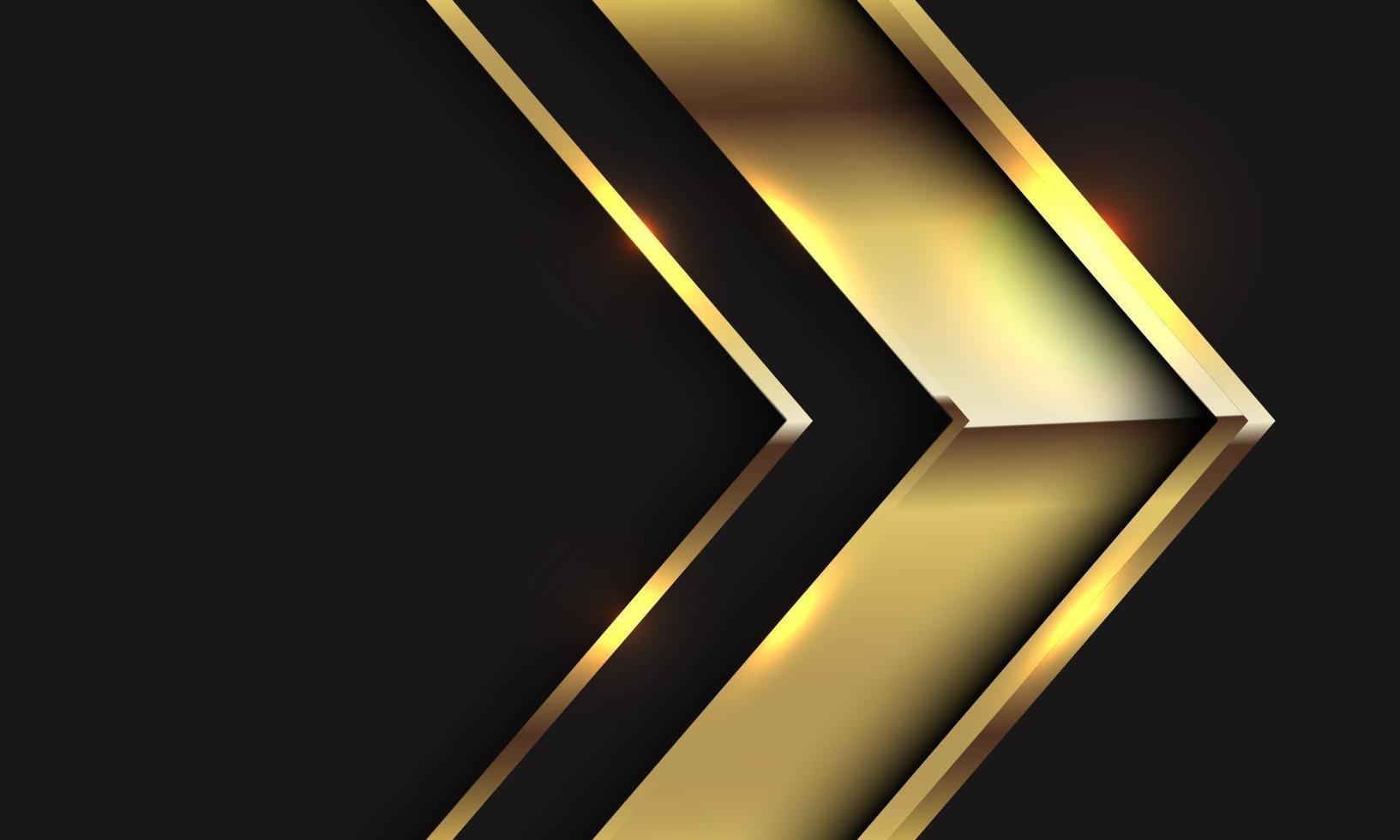 abstracte gouden glanzende pijlrichting op zwart met lege ruimte ontwerp moderne luxe futuristische vectorillustratie als achtergrond. vector